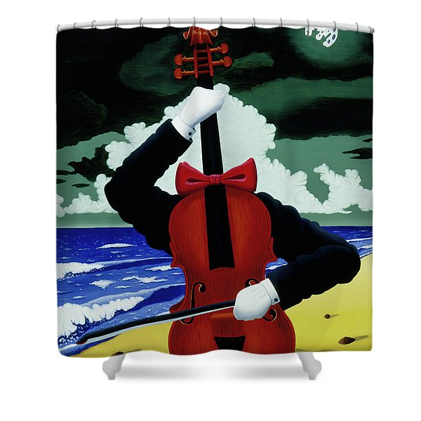 The Silent Soloist Shower Curtain