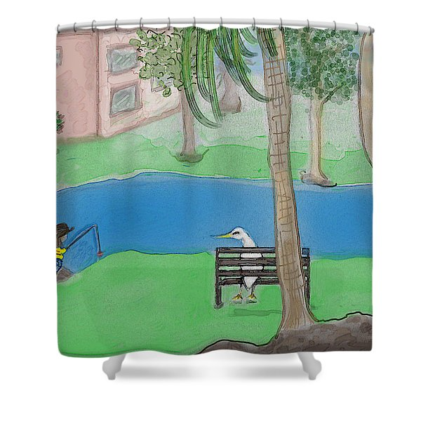 The Sitter Shower Curtain