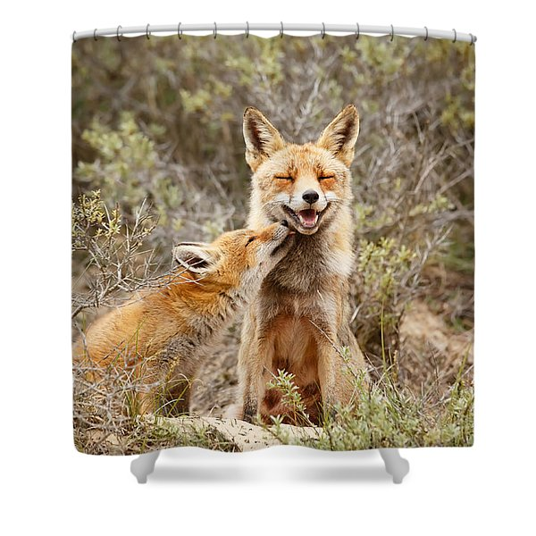 The Smiling Vixen And The Happy Kit Shower Curtain