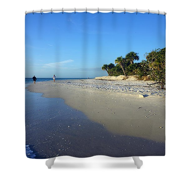 The South End Of Barefoot Beach In Naples, Fl Shower Curtain