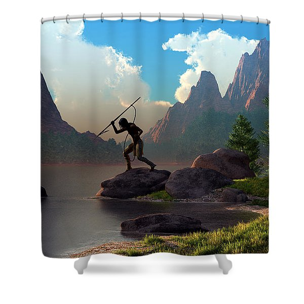 The Spear Fisher Shower Curtain