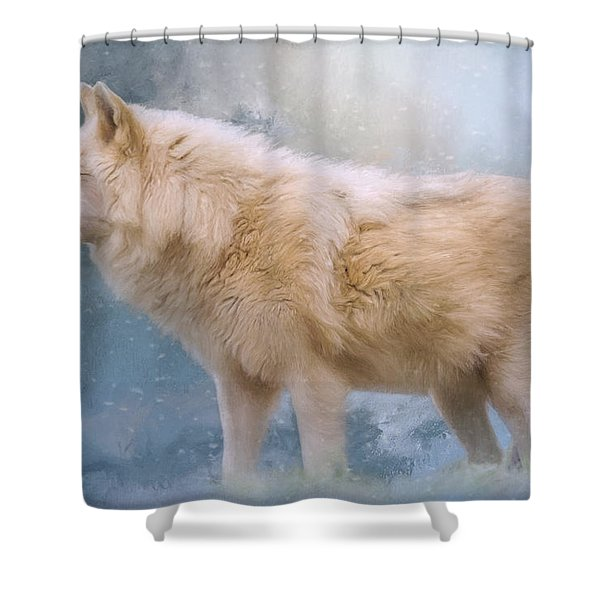 The Spirit Within - Arctic Wolf Art Shower Curtain