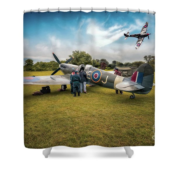 The Spitfire Parade Shower Curtain