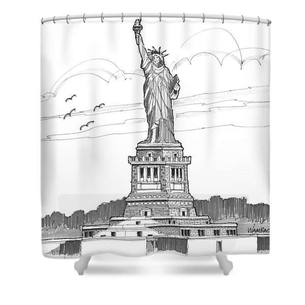 The Statue Of Liberty Lighthouse Shower Curtain