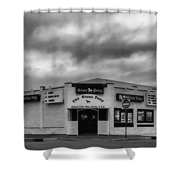 The Stone Pony Asbury Park New Jersey Black And White Shower Curtain