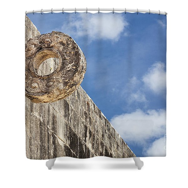 Shower Curtain featuring the photograph The Stone Ring At The Great Mayan Ball Court Of Chichen Itza by Bryan Mullennix