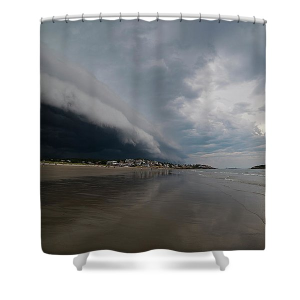 The Storm Rolling In To Good Harbor Beach Gloucester Ma Shower Curtain