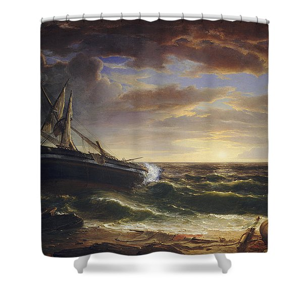 The Stranded Ship Shower Curtain
