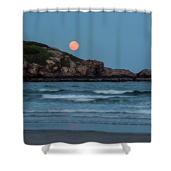 The Strawberry Moon Rising Over Good Harbor Beach Gloucester Ma Island Shower Curtain