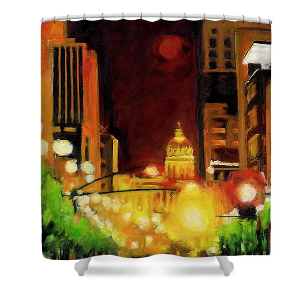 The Streets Run With Crimson And Gold Shower Curtain