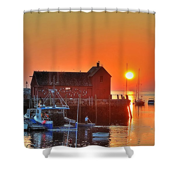 The Sun Rising By Motif Number 1 In Rockport Ma Bearskin Neck Shower Curtain