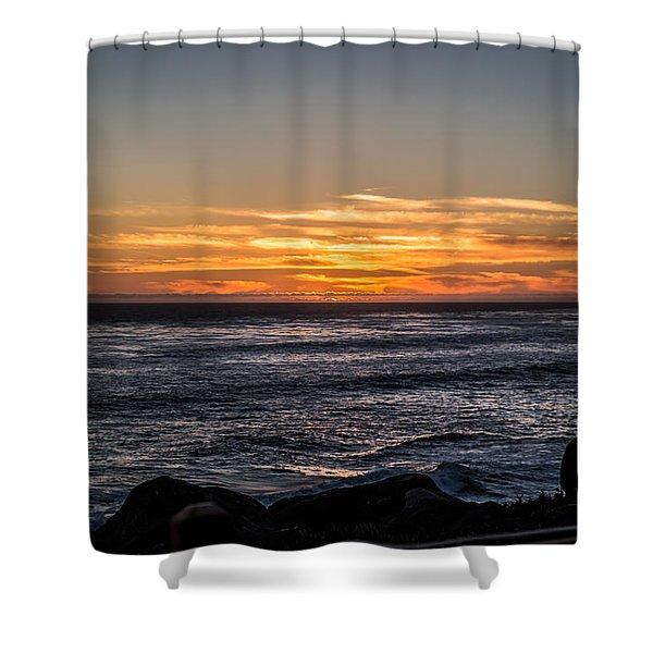 The Sun Says Goodbye Shower Curtain