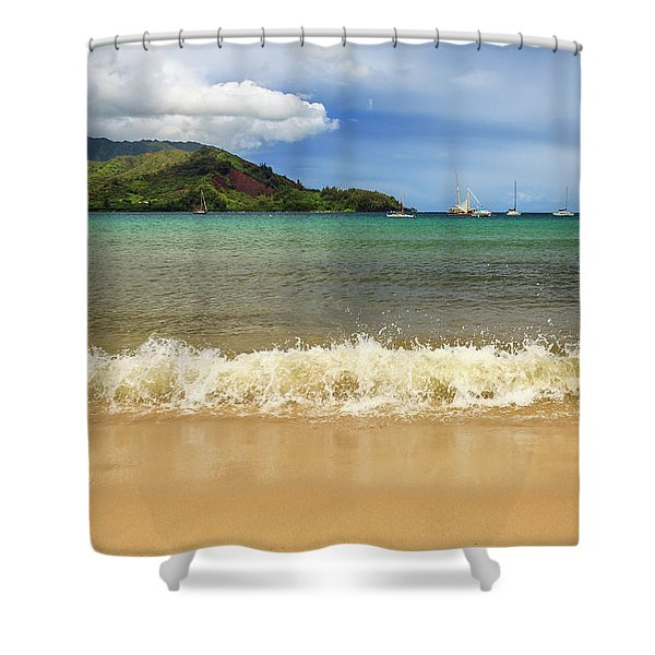 The Surf At Hanalei Bay Shower Curtain