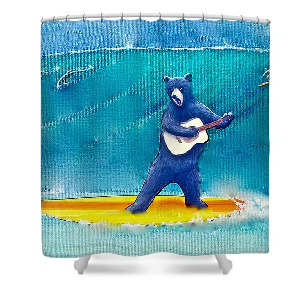The Surfing Bear Shower Curtain