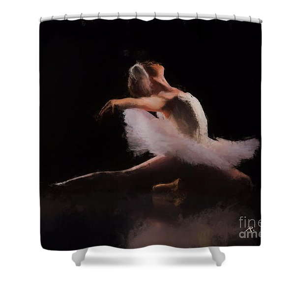 Shower Curtain featuring the painting The Swan  by Rosario Piazza