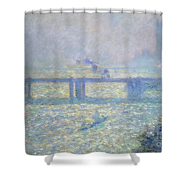 The Thames At Charing Cross Bridge, London, 1899 Shower Curtain