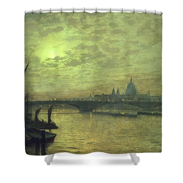 The Thames By Moonlight With Southwark Bridge Shower Curtain