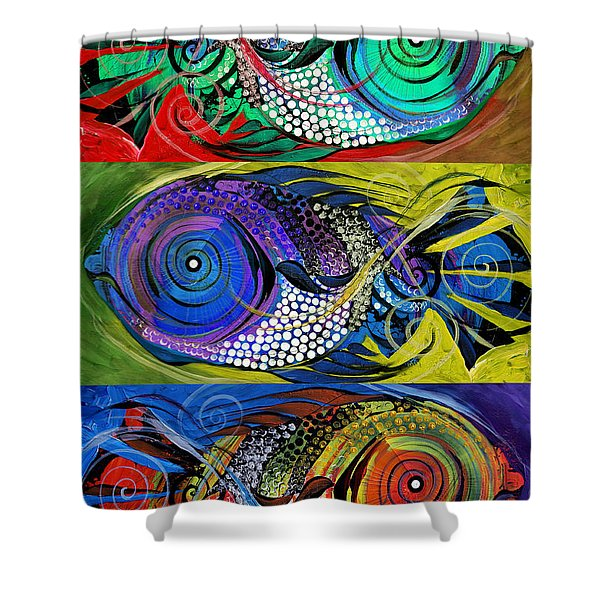 The Three Fishes Shower Curtain
