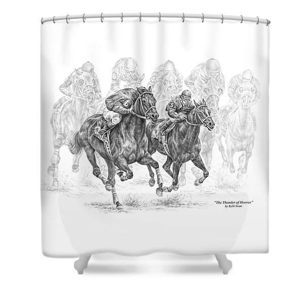 The Thunder Of Hooves - Horse Racing Print Shower Curtain