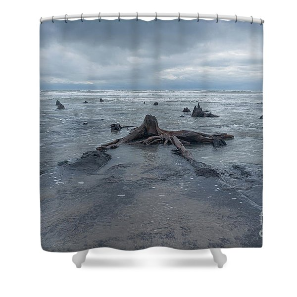 The Tide Comes In Over The Bronze Age Sunken Forest At Borth On The West Wales Coast Uk Shower Curtain