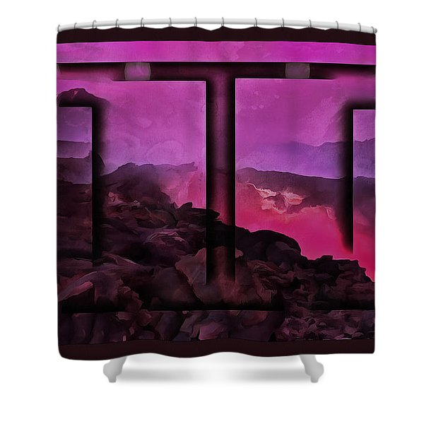 The Tortured Landscape Shower Curtain