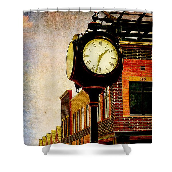 the Town Clock Shower Curtain