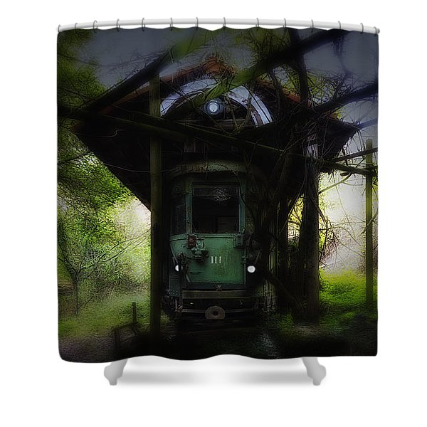 The Tram Leaves The Station... Shower Curtain