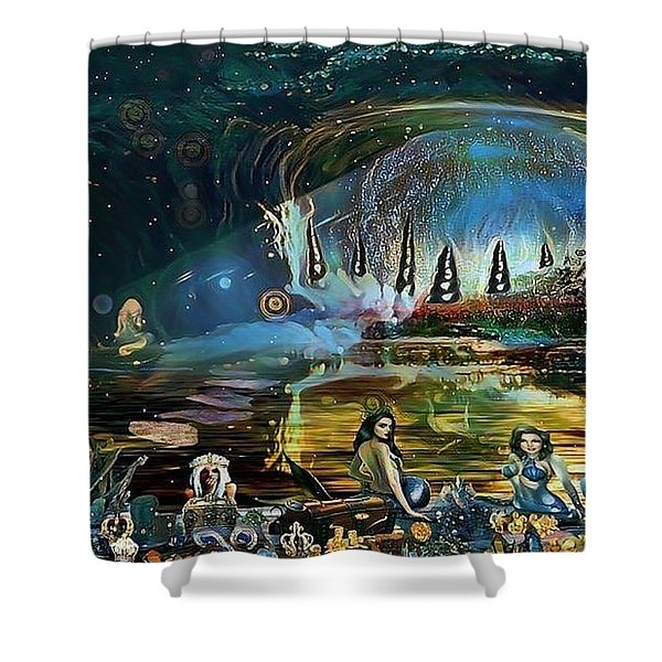 The Treasure Cave Of The Mermaids Shower Curtain