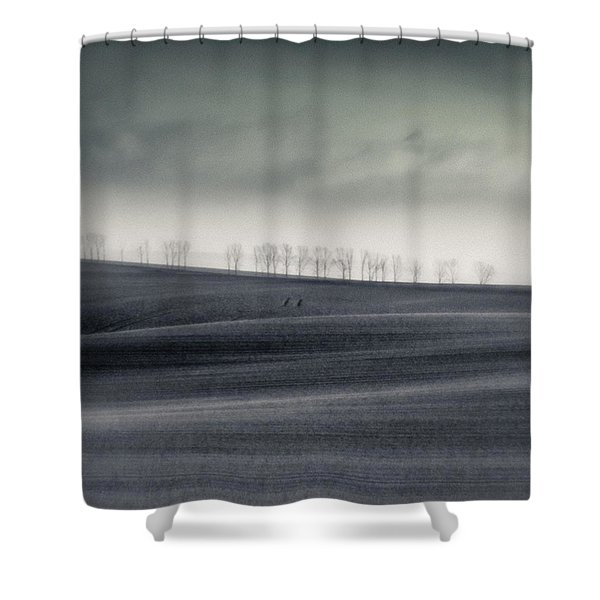 The Trees On The Horizon  #monochrome Shower Curtain