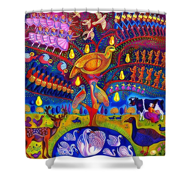 The Twelve Days Of Christmas Shower Curtain