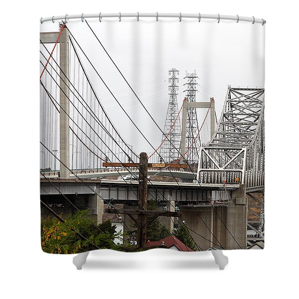 The Two Carquinez Bridges At Crockett And Vallejo California . Aka Alfred Zampa Memorial Bridge . 7d8919 Shower Curtain