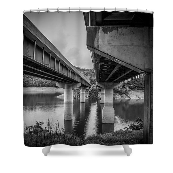 The Underside Of Two Bridges Shower Curtain
