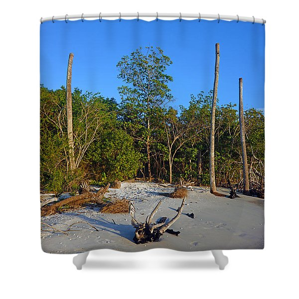 The Unspoiled Beauty Of Barefoot Beach In Naples - Portrait Shower Curtain