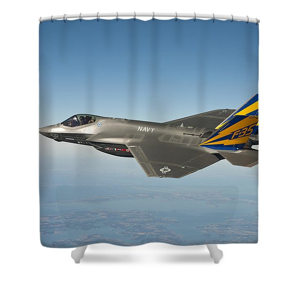 The U.s. Navy Variant Of The F-35 Joint Strike Fighter, The F-35c Shower Curtain