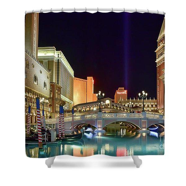 The Venetian Gondolas At Night Shower Curtain