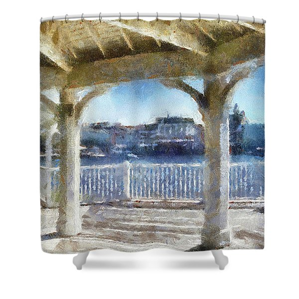 The View From The Boardwalk Gazebo Wdw 02 Photo Art Mp Shower Curtain