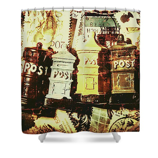 The Vintage Postage Card Shower Curtain
