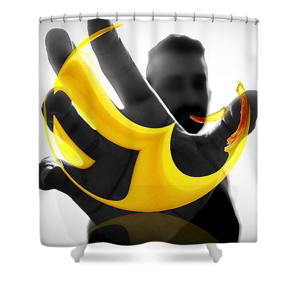 Shower Curtain featuring the digital art The Virtual Reality Banana by ISAW Company