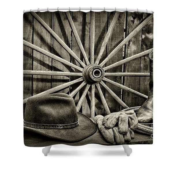 The Wagon Master In Black And White Shower Curtain