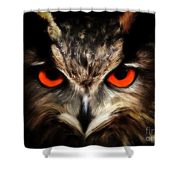 The Watcher - Owl Digital Painting Shower Curtain