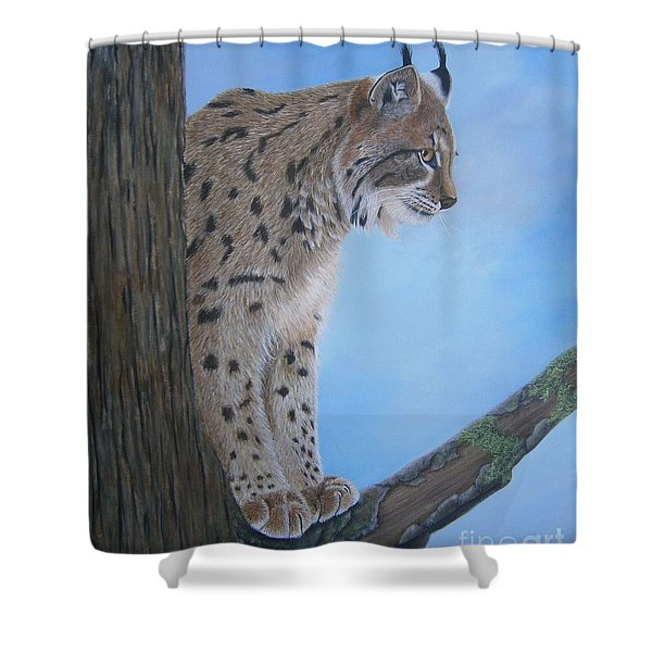 Shower Curtain featuring the painting The Watcher by Tracey Goodwin