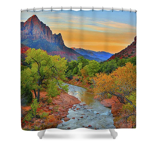 The Watchman And The Virgin River Shower Curtain