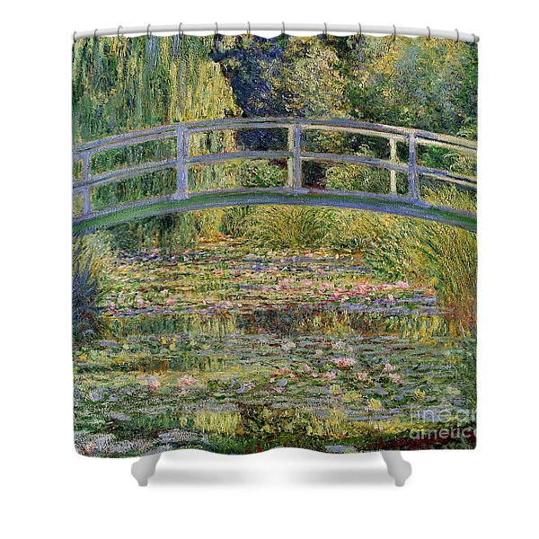 The Waterlily Pond With The Japanese Bridge Shower Curtain