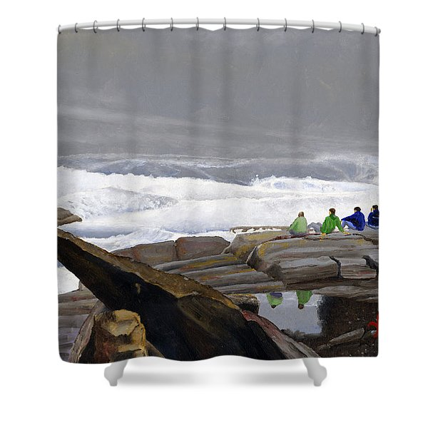 Shower Curtain featuring the painting The Wave Watchers by Dominic White