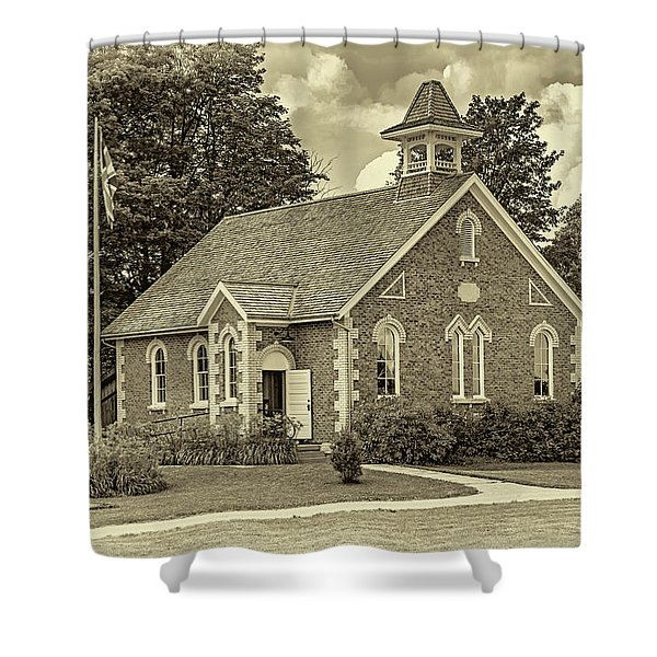 The Way We Were - One Room School House - Sepia Shower Curtain