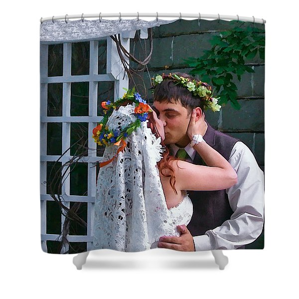 The Wedding Kiss Shower Curtain