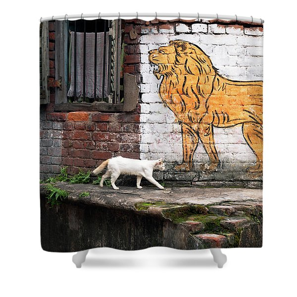 The White Cat Shower Curtain