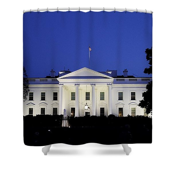 The White House At Night Shower Curtain