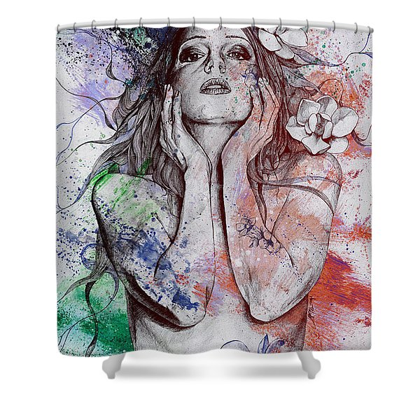 The Withering Spring - Wine Shower Curtain