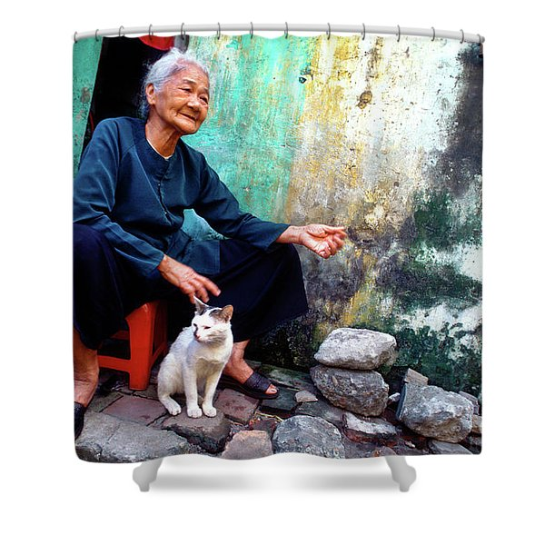 Shower Curtain featuring the photograph The Woman And The Cat by Silva Wischeropp